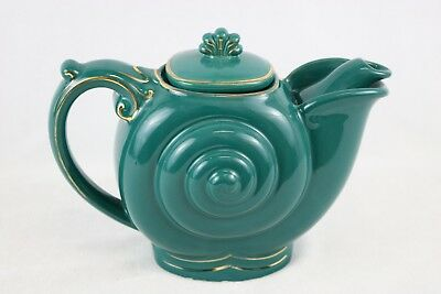 Vintage 6 Cup Hall Nautilus Teapot #0660 Turquoise Teal Gold Gilded Edging
