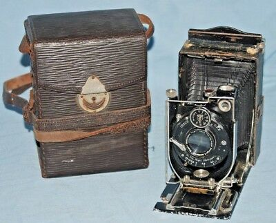 A Vintage Nagel 18 Folding Plate Camera With Leather Case