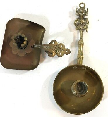 Bundle Of Vintage Brass Chambermaid Candle Stick Holders X2 Both Need Attention