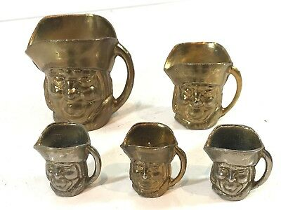 Bundle Of Vintage Brass Toby Jugs X5 Mixed Sizes & Wear - Face Design Handled