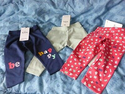 M+S Mixed Lot 3 Pairs Girls Leggings 6-9 Months 9 Kg / 20 Lb