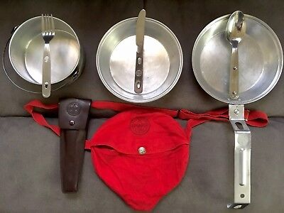 VINTAGE OFFICIAL BOY SCOUTS of AMERICA MESS KIT & OFFICIAL IMPERIAL UTENSILS '71