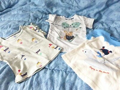 M+S Mixed Lot 3 Pairs Girls T Shirts  6-9 Months 9 Kg / 20 Lb