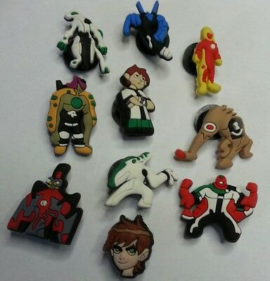10pc set BEN 10 & ALIENS cartoon SHOE CHARMS LOT FOR CROC SHOES JIBBITZ BRACELET