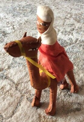 Vintage Hand Crafted Stuffed Leather Camel with Arab Rider Figurine 8""
