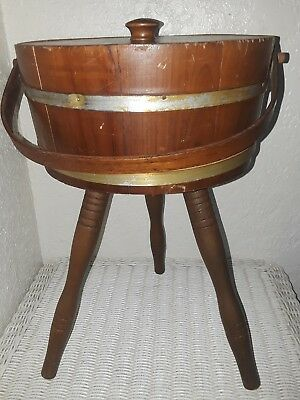 Vtg Antique 3 Leg Wood Knitting Sewing Storage Container Firkin Bucket