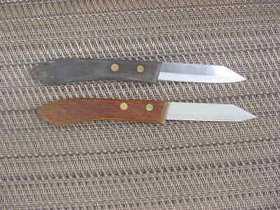 2 EKCO Stainless Steel USA Paring Knives BRASS Riveted wood knife Handles
