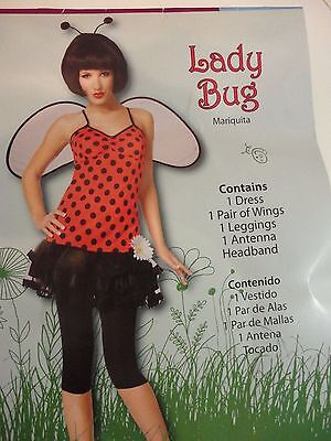 LADY BUG Costume Womens Size Small Adult Size 4-6 Halloween Birthday Carnival