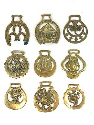 Bundle Of Vintage Brass Horse Brasses X9 Fireplace Collectables - Dragon Thistle
