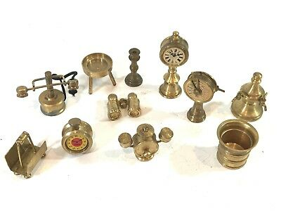 Job Lot Of Vintage Brass Collectables - Telephone, Alarm Clock, Binoculars Etc