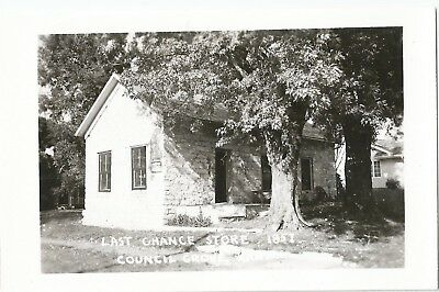 """RPPC Postcard of Historic """"LAST CHANCE STORE, 1857 """" in Council Grove, Kansas"""
