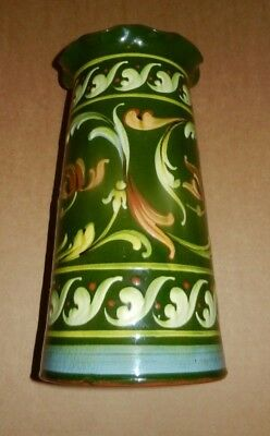 "Very LARGE Aller Vale Vase  deep green with scroll 10"" tall"