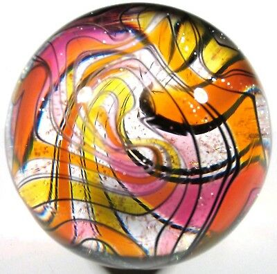 "Hot House Glass Dichroic banded swirl marble 1.74"" 44mm #672"