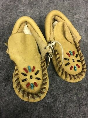 Native american baby buckskin authentic moccassin booties vintage beaded leather