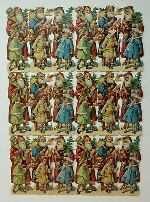 Large Sheet 18 Antique Santa Claus Children Toys Victorian Era Scraps Germany