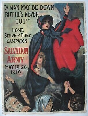 Real Vintage WWI, World War I Poster, A MAN MAY BE DOWN BUT HE'S NEVER OUT, 1919