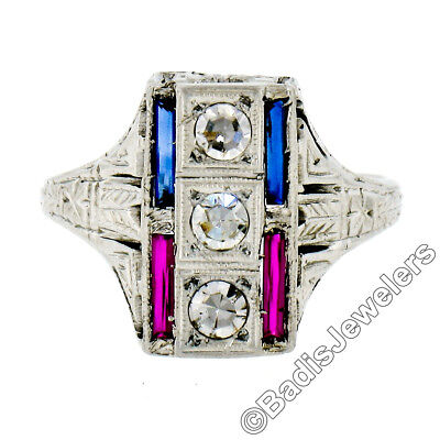 Antique Art Deco 18K Gold .24ctw Diamond Sapphire Ruby Hand-Etched Dinner Ring