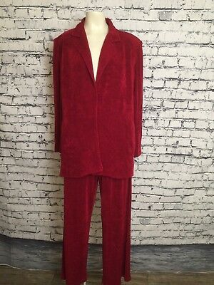 Women Vintage Criscione Red Glitter 2 Piece Suit Open Jacket Pants Small Pockets