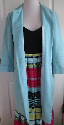 Nordstrom Halogen Blue Coat Jacket & Ann Taylor Striped Maxi Dress Lot M/6