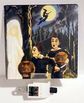 New Reproduction Vintage FRIGHT Halloween Scrap Art Night Light