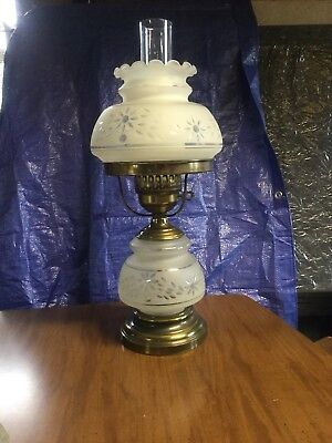 Vintage Hurricane lamp Frosted Shade like Quoizel