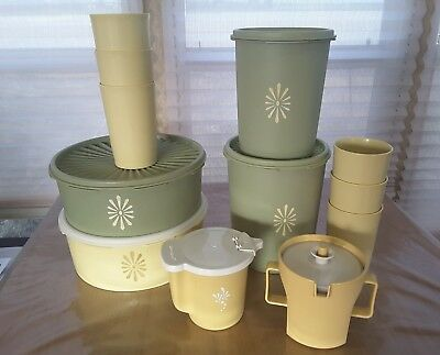 Collection of vintage Tupperware Harvest Gold Canisters