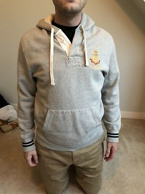 Polo Ralph Lauren Men's Grey Pullover Hoodie With Logo And Drawstring Medium