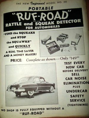 1940s Advertising Flyer for RUF-ROAD Rattle and Squeak Detector for Cars