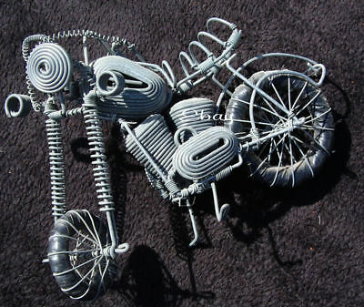Handmade gray wire metal motorcycle sculpture may be African..Harley ?Chopper ?