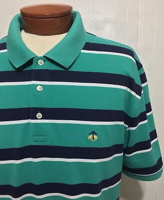 Brooks Brothers Front Buttoned Placket/SS Multicolored Striped Polo Shirt Sz XXL
