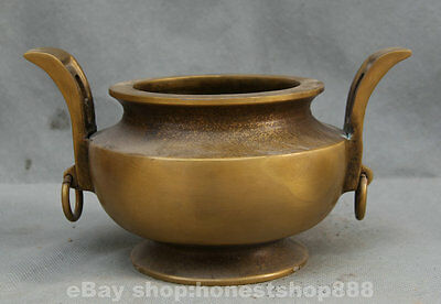 "8"" Antique Chinese Temple Buddhism Bronze Gilt Handle Incense Burner Censer S"