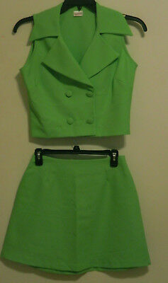 Fun Sexy Neon Green 1980s Vintage Fredericks of Hollywood Skirt Vest 2pc Outfit