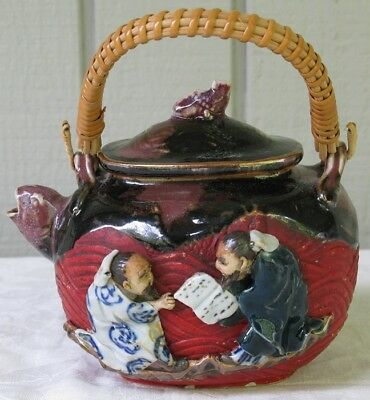 Antique Japanese Sumida Gawa Pottery High Relief Teapot Signed Scholars Koi Fish