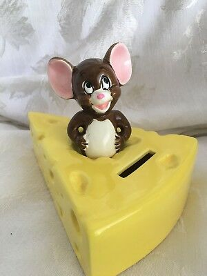 1981 Gorham Metro Goldwyn Mayer Film Co. Tom and Jerry Bank Jerry Cheese Japan