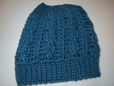 Crochet Hat-Messy Bun-Pony Tail Hat-Blue-Thick/warm-Super Cute!!