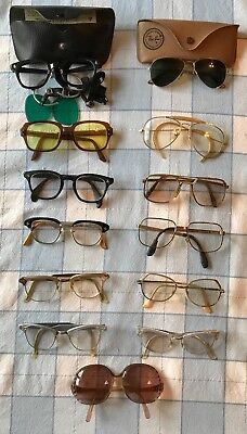 Lot of 13 Vintage Eyeglasses Some Ready to Wear AO USS B&L Ray Ban Aviator