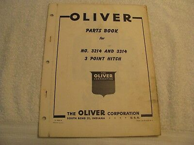 Original Oliver Parts Book for No. 3214 and 3314 Three Point Hitch 66 Tractor