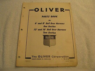 Oliver Parts Book 6'/8' One Section/12' and 16' Roll Over Harrows Two Sections