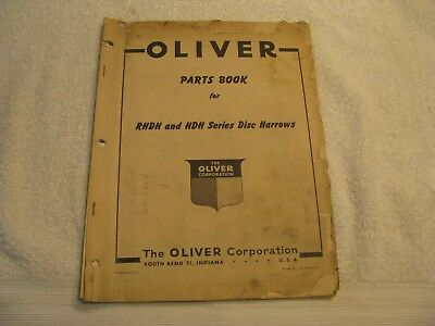 Original Oliver Parts Book for RHDH and HDH Series Disc Harrows