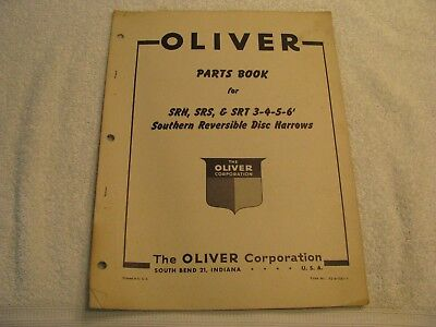 Original Oliver Parts Book for Southern Reversible Disc Harrows 3-4-5-6 Feet