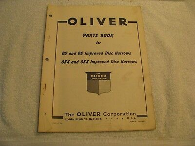 Original Oliver Parts Book for OS/OSX and OS/OSX Improved Dis Harrows