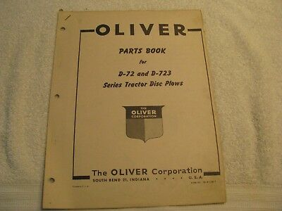 Original Oliver Parts Book for D-72 and D-723 Series Tractor Disc Plows