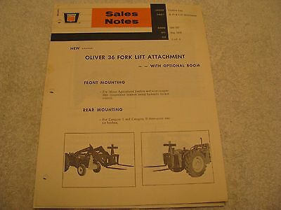 1968 Oliver 36 Fork Lift Attachment Sales Notes