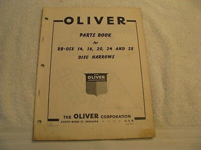 Original Oliver Parts Book for RB-OSX 14,16,20,24 and 28 Disc Harrows