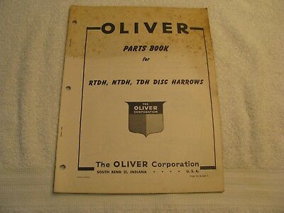 Original Oliver Parts Book for RTDH, NTDH and TDH Disc Harrows