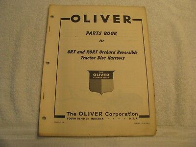 Original Oliver Parts Book for ORT and RORT ORCHARD Reversible Disc Harrows