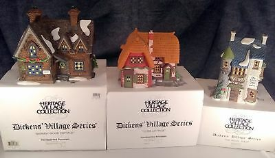 Department 56 Dickens' Village 3 Light Up Houses  Vintage Collectible