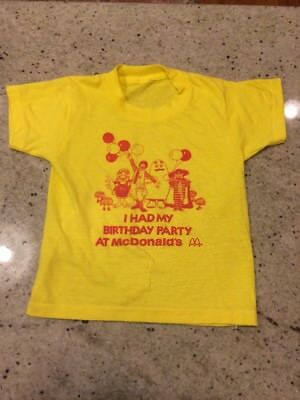 McDONALD'S Vintage 80s PARTY Birthday T Shirt SCREEN STAR Youth Size