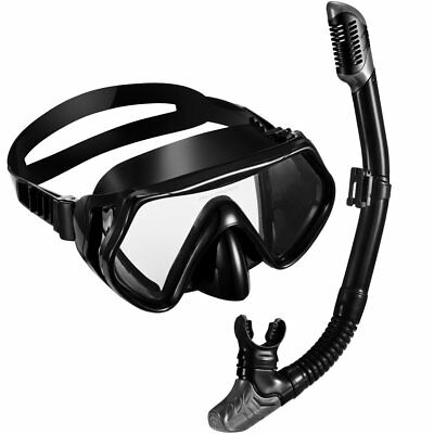 Dry Top Snorkel Set with Tempered Glass Diving Mask and Dry Snorkel For Swimming