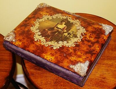 Antique Victorian Celluloid Photo Album with 21 Cabinet Cards & Tintypes